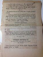 Regio Decreto 22/05/1868 Riconoscimento Comizio agrario di Monteleone - 594