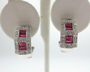 NEW Natural Rubies Diamonds Solid 18k White Gold Earrings