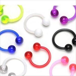 "1 PAIR 14g 1/2""  Circular Barbell Horseshoe Bio Flex Nipple Ear Navel Ring"