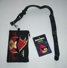 Black Angry Birds Lanyard rovio Licensed Zipper Wallet Pouch ID Fast Pass Holder