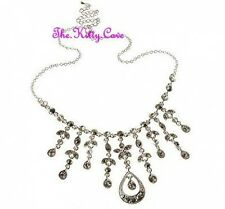 Vintage Glamour Bridal Wedding Silver Drop Choker Necklace W/ Swarovski Crystals