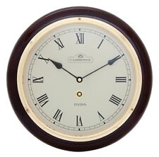 SILENT MOVEMENT SOLID TIMBER WOODEN STATION WALL CLOCK PIANO FINISH 96937R 1.5k