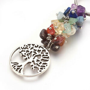 Yoga Chakra Tree of Life Natural Gemstones Keychain With Strong Keyring Attached