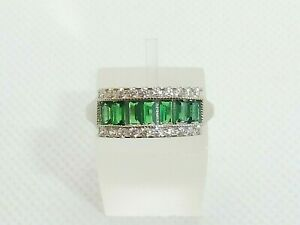Ladies Handmade Sterling 925 Fine Silver White Sapphire & Emerald Eternity Ring