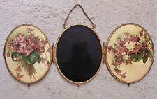 Rare Paul de Longpre Triptych Beveled Mirror Victorian Antique 3 Part Flowers