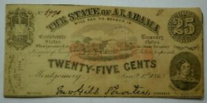 1863 25 Cents Note Montgomery Alabama Civil War Confederate Paper Money ...