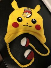 Pokemon Pikachu Headwear Bioworld Nintendo Knit Cap With Poke' Ball Tassels New