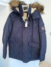 Mens Hollister Navy Parka Coat With Fur Hood And Borg Lining Size M BNWT
