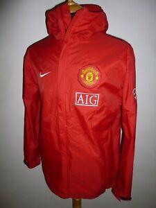 Men's Manchester United AIG NIKE Red Windbreaker Training Jacket Coat Size Small