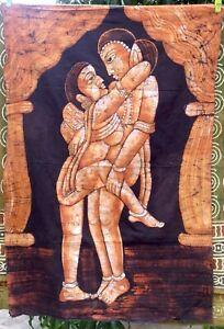 Kamasutra Tenture indienne érotique Batik Fait main Inde Coton Art Boho O7