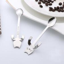 1X Silver Stainless Steel Cat Coffee Drink Spoon Tableware Hanging Cups Teaspoon