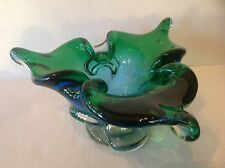 Vintage Art Glass Murano Blue to Green bowl on Clear Pedestal