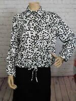 Marc New York Women's Blouse Long Sleeve Blouse Black/White Dot, Size Medium