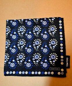 $165 NWOT TOM FORD Black w/ Blue & white Floral silk pocket square Handkerchief