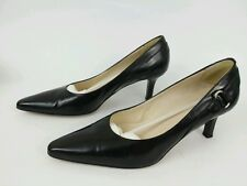 TALBOTS Womens Shoes Size 7.5N Black Leather Heels made in Italy.