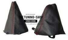 FOR BMW MINI COOPER S ONE 01-06 SHIFT E BRAKE BOOT BLACK LEATHER RED STITCHING