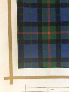 Original 1877 Antique Scottish Highland Clan Gunn Tartan Colour Print