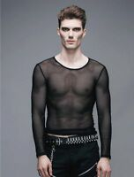 New Gothic Devil Fashion Men Net Shirt Transparent Black rock punk Top Steampunk