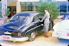 sl03 Original Slide 1950's Red Kodachrome lady Lincoln car 547a