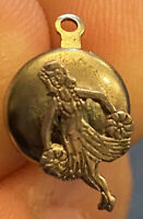 Vintage Sterling Silver Hula Girl Pin Charm Jewelry .3g With Backer