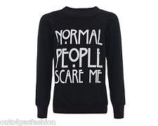 Womens Ladies Normal People Scare Me Print Knitted Sweater Jumper Sweatshirt Top