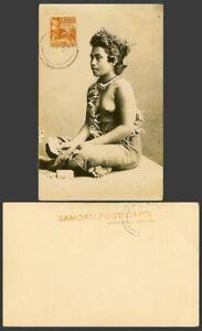 Samoa Apia 1 1/2d Old Real Photo Postcard Samoan Woman Bare Breast Playing Cards