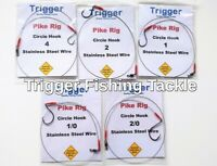 6 X SINGLE HOOK PIKE RIGS//TRACES VARIOUS SIZE WIDE MOUTH HOOKS 40lb WIRE