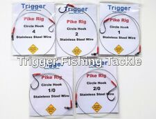 5 X SINGLE HOOK PIKE RIGS/TRACES VARIOUS SIZE  CIRCLE HOOKS 20lb WIRE FREE POST