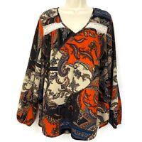 Karen Kane Blouse M Paisley Long Sleeve V Neck Semi Sheer Lace Medium Womens Top