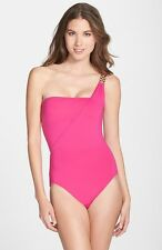 MICHAEL Michael Kors 'Watch Band' One-Shoulder Maillot Swimsuit Pink Size 12