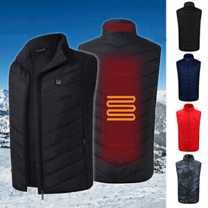 USB Men Women Heating Warm Vest Work Heated Jacket Coat Outdoor Zipper Winter