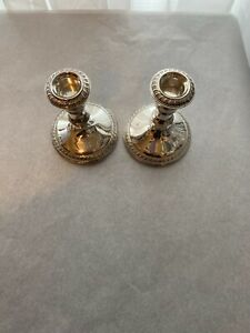 Pair Antique Sterling Silver Candlestick