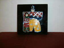 Vtg Lacquered Abalone Japanese Father & Daughter wooden plaque