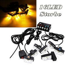 16 LED Amber Light Emergency Warning Strobe Flashing Bar Hazard Waterproof