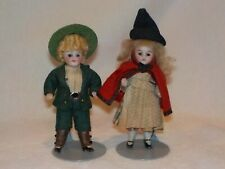 "Awesome Pair Of German Antique All Bisque 4"" Miniature Dolls"