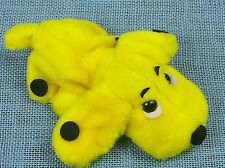 Vintage 1977 Plush Gund Yellow Dog Black Spots Lays Flat Stuffed Toy
