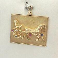 14K Yellow Gold Harness Racing Horse Jockey Ruby Sapphire Charm Pendant 9.5gr