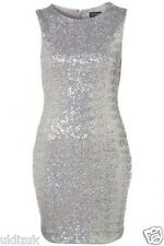 Topshop Silver Holographic Sequin Bodycon Mini Dress - Size 10 (Fit 6 or 8 )