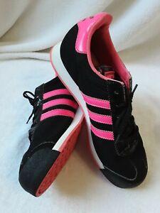 Adidas  Young Girls Sneakers Size 5 Black and Fuchsia Samoa Originals   *24
