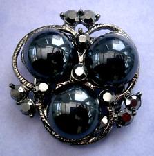 tone hematite glass brooch scarf clip B976*) A lovely vintage dark silver