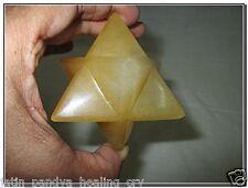 "Jet Rare New Natural Yellow Aventurine Large 2"" Merkaba Gemstone Huge Big A+"