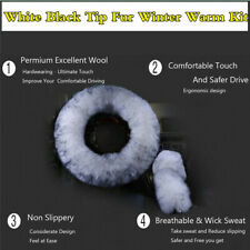 3Pcs Fur Car Steering Wheel Cover White Black Tip Wool Furry Fluffy Thick Winter