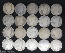 BARBER HALF DOLLARS MIXED DATE AVERAGE CIRCULATED FULL ROLL 20 SILVER COINS