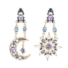 Colorful Elegant Crystal Drop Long Moon Sun Pendant Stud Earrings Jewelry Gift J