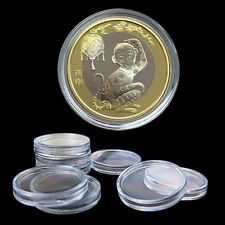 10x 35mm Applied Clear Round Cases Coin Storage Capsules Holder Round Plastic GS