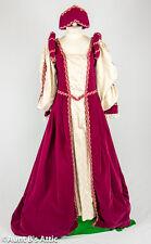 Renaissance Gown Burgundy & Gold Velveteen 2pc Ladies Shakespearean Dress Med-Lg