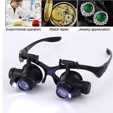 20x fach Juwelier Uhrmacher Lupe Brillenlupe Lupenbrille LED Licht Uhr Reparatur