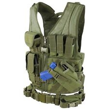 Condor XL/XXL Military Cross Draw Tactical Chest Rig Vest w/ Holster Pouch OD