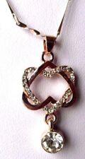 Collier pendentif chaîne bijou rétro couleur or rose cristal diamant 3379