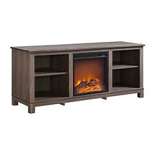 Altra Edgewood Tv Console With Fireplace For Tvs Up To 60In Distressed Brown Oak